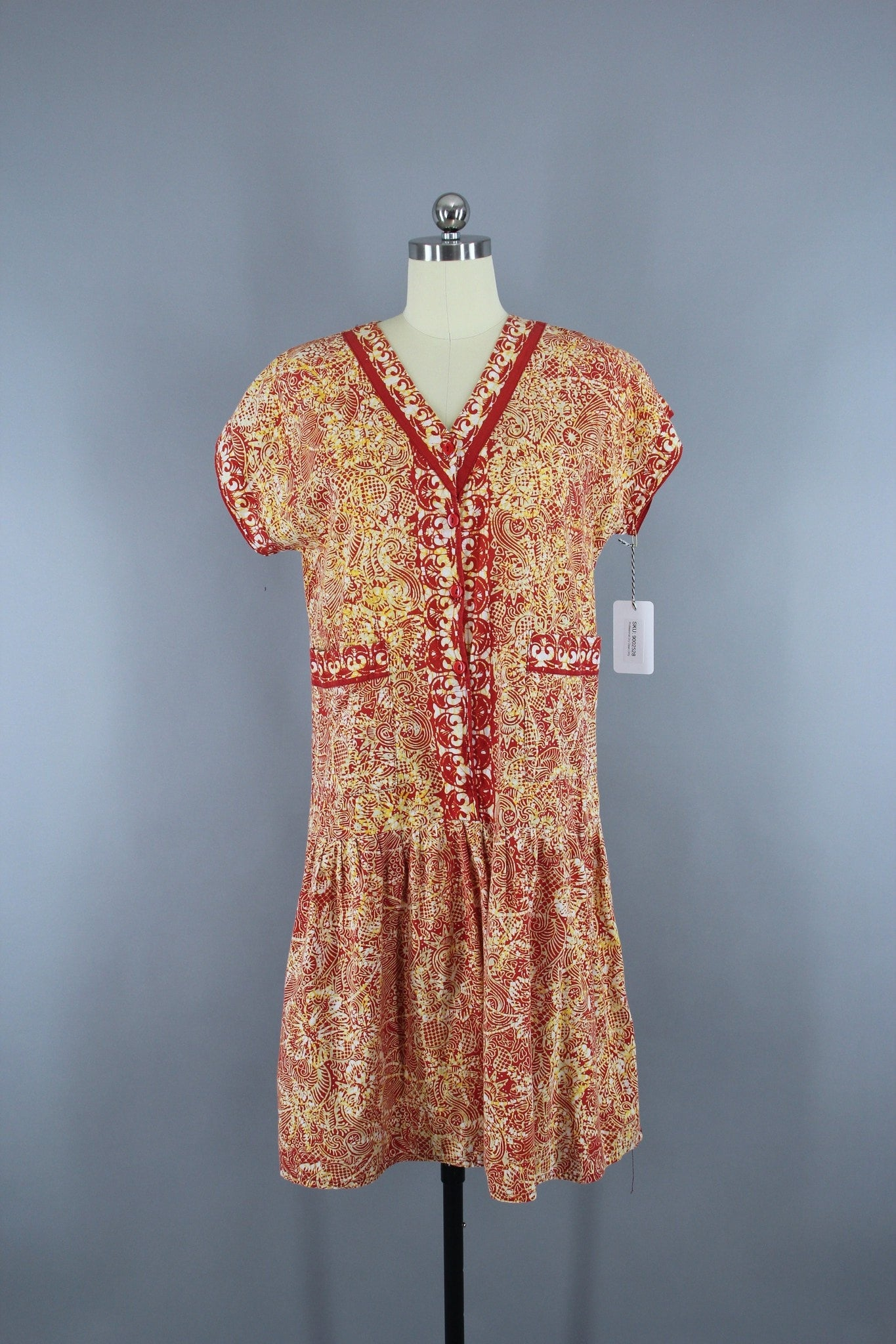 1960s Vintage Orange Red Batik Drop Waist Cotton Day Dress Dress ThisBlueBird