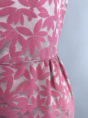 1960s Vintage Pink and Grey Satin Damask Dress and Jacket Set Dress ThisBlueBird