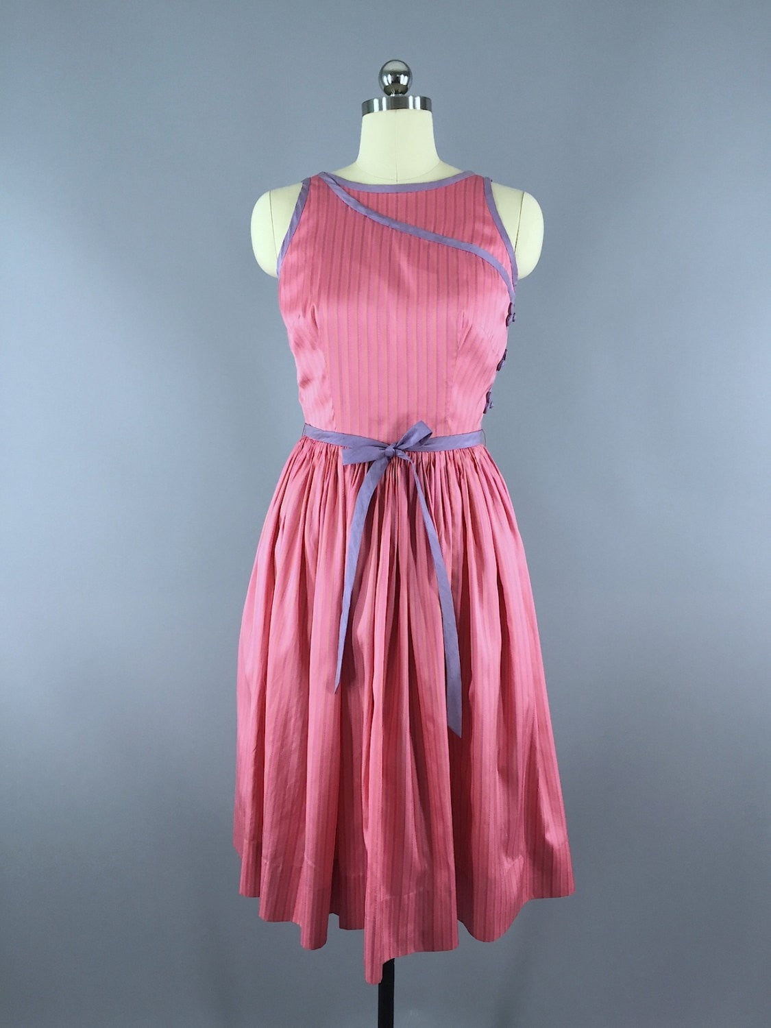 1960s Vintage Pink Silk Cocktail Dress Dress ThisBlueBird