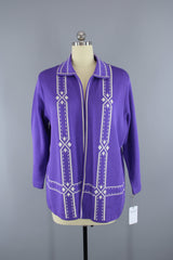 1960s Vintage Purple & White Knit Cardigan Sweater Tops ThisBlueBird
