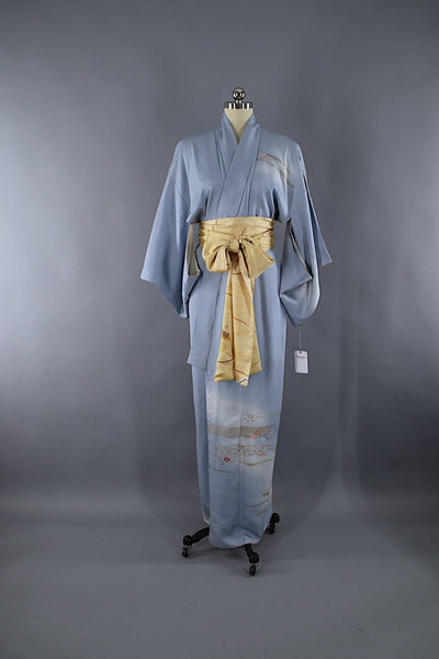 1960s Vintage Silk Kimono Robe / Dusty Sky Blue Embroidered Floral