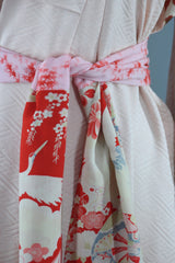 1960s Vintage Silk Kimono Robe Furisode in Pastel Pink and Red Floral Print Kimono ThisBlueBird