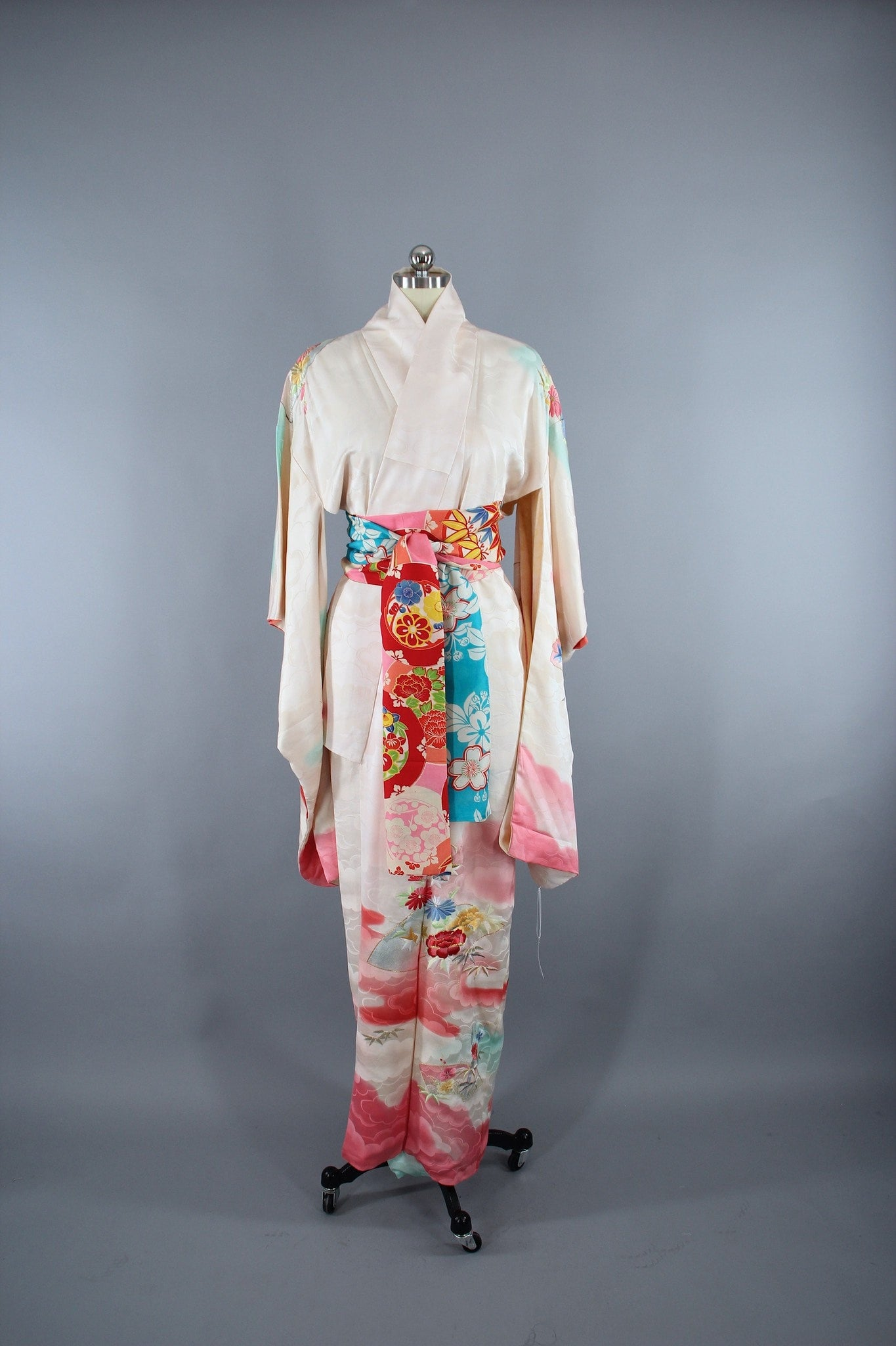 1960s Vintage Silk Kimono Robe Furisode in White Ombre Pink Clouds with Floral Embroidery Kimono ThisBlueBird