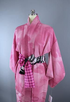 1960s Vintage Silk Kimono Robe / Pink and White Ombre Clouds - ThisBlueBird