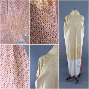 1960s Vintage Silk Kimono Robe / Pink Silver Gold Embroidered Floral - ThisBlueBird