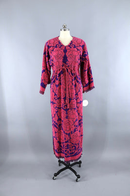 c06b2242ff 1960s Vintage Terry Cloth Towel Dress / Pink & Purple Roses