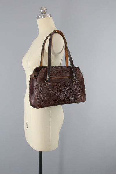 1960s Vintage Tooled Leather Shoulder Bag Handbag