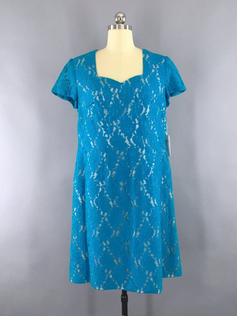 1960s Vintage Turquoise Lace Cocktail Dress Dress ThisBlueBird