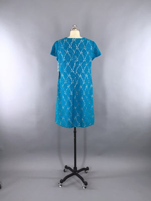 1960s Vintage Turquoise Lace Cocktail Dress - ThisBlueBird
