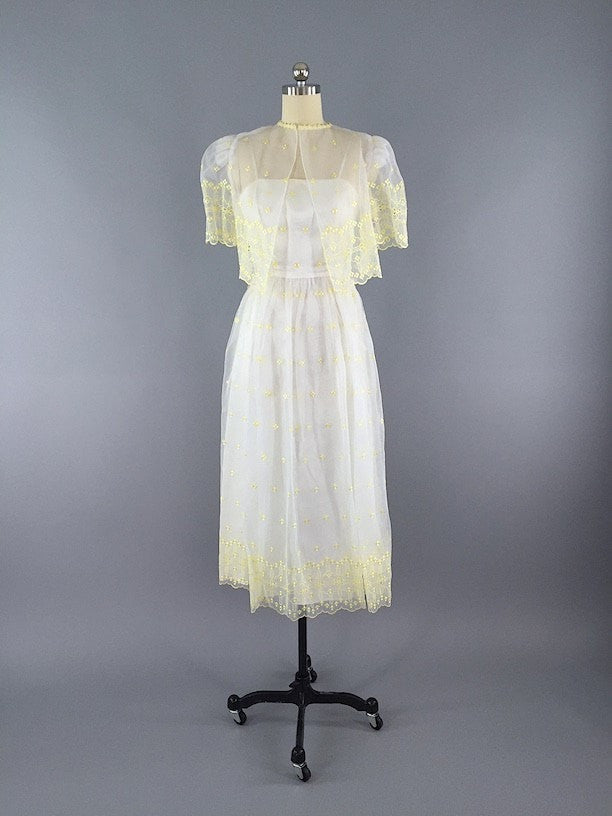1960s Vintage White and Yellow Chiffon Dress Dress ThisBlueBird - Sale