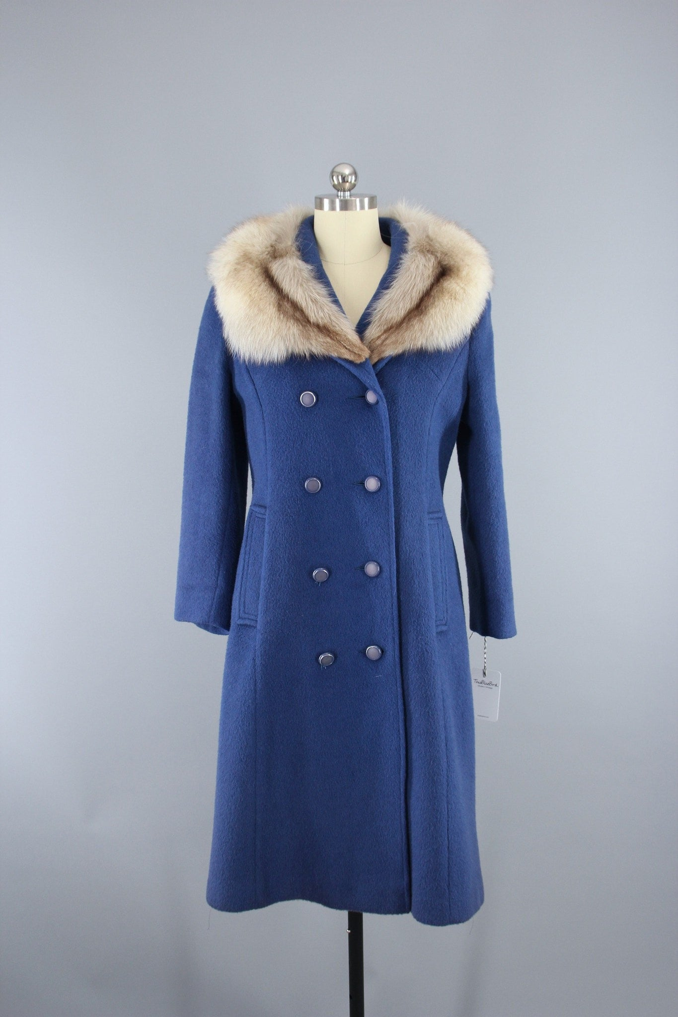 1960s Vintage Windsor Blue Wool Coat with Fox Fur Collar Outerwear ThisBlueBird