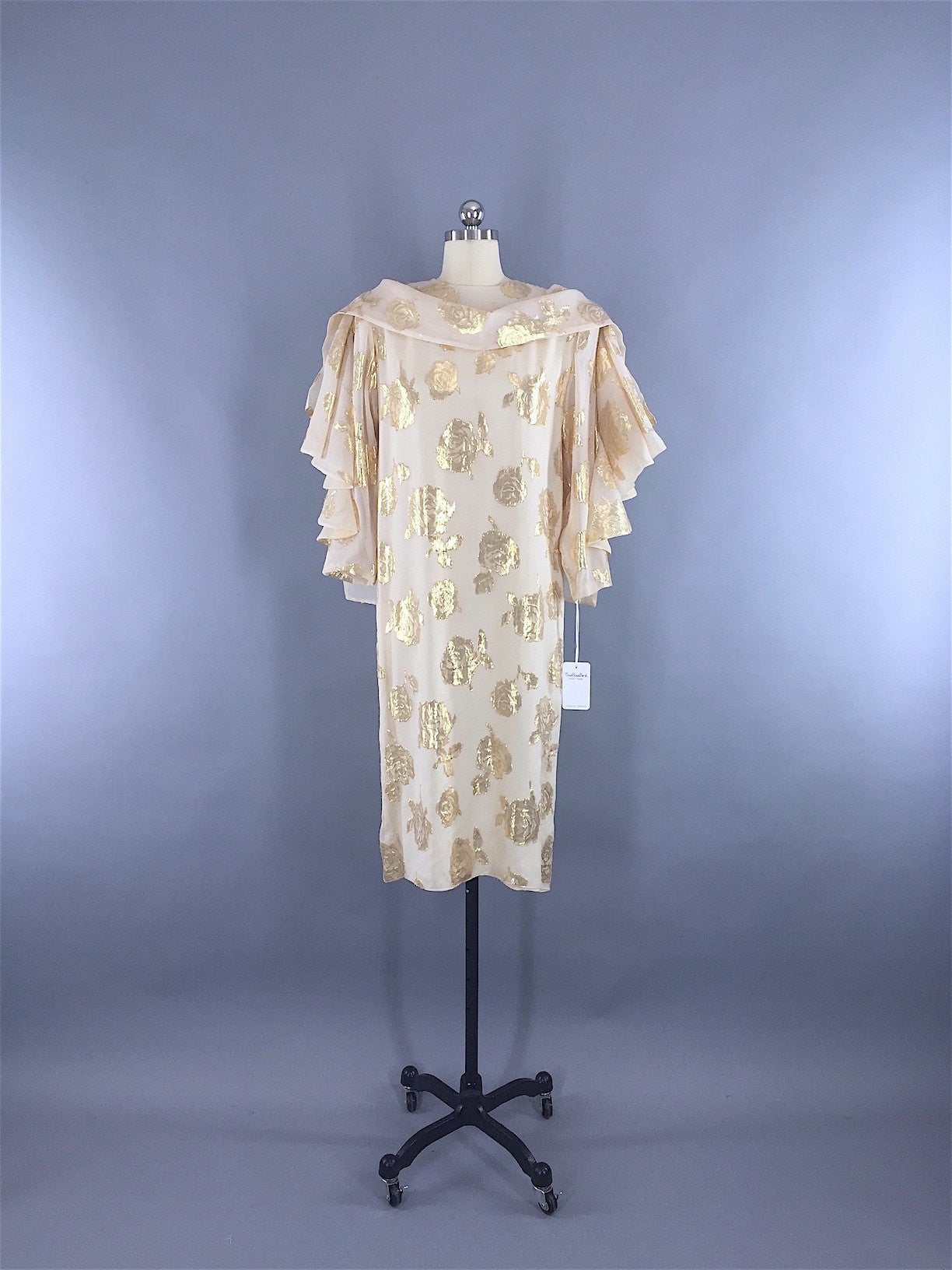 1970s - 1980s Vintage HANAE MORI Designer Dress in Ivory Chiffon with Gold Roses Dress ThisBlueBIrd