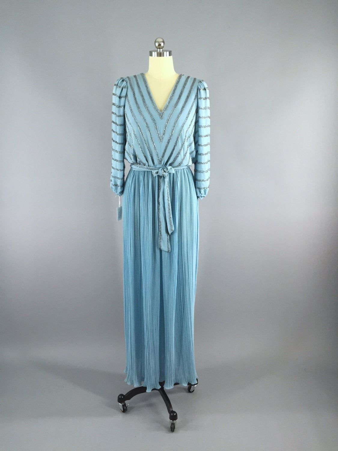 1970s Vintage Beaded Dress /  Mother of the Bride Dress ThisBlueBird