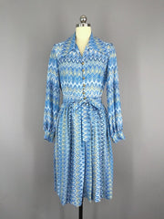 1970s Vintage Blue Knit Day Dress Dress ThisBlueBird - Sale
