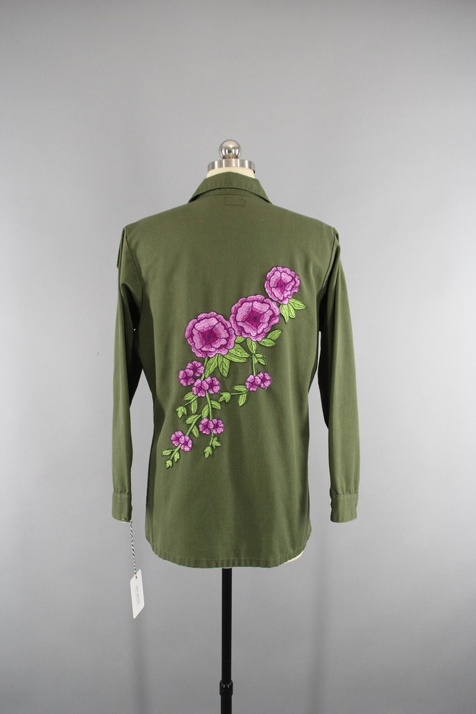 1970s Vintage Embroidered US Army Jacket with Purple Floral Embroidery Outerwear ThisBlueBird