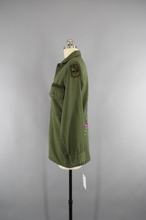 1970s Vintage Embroidered US Army Jacket with Purple Floral Embroidery - ThisBlueBird