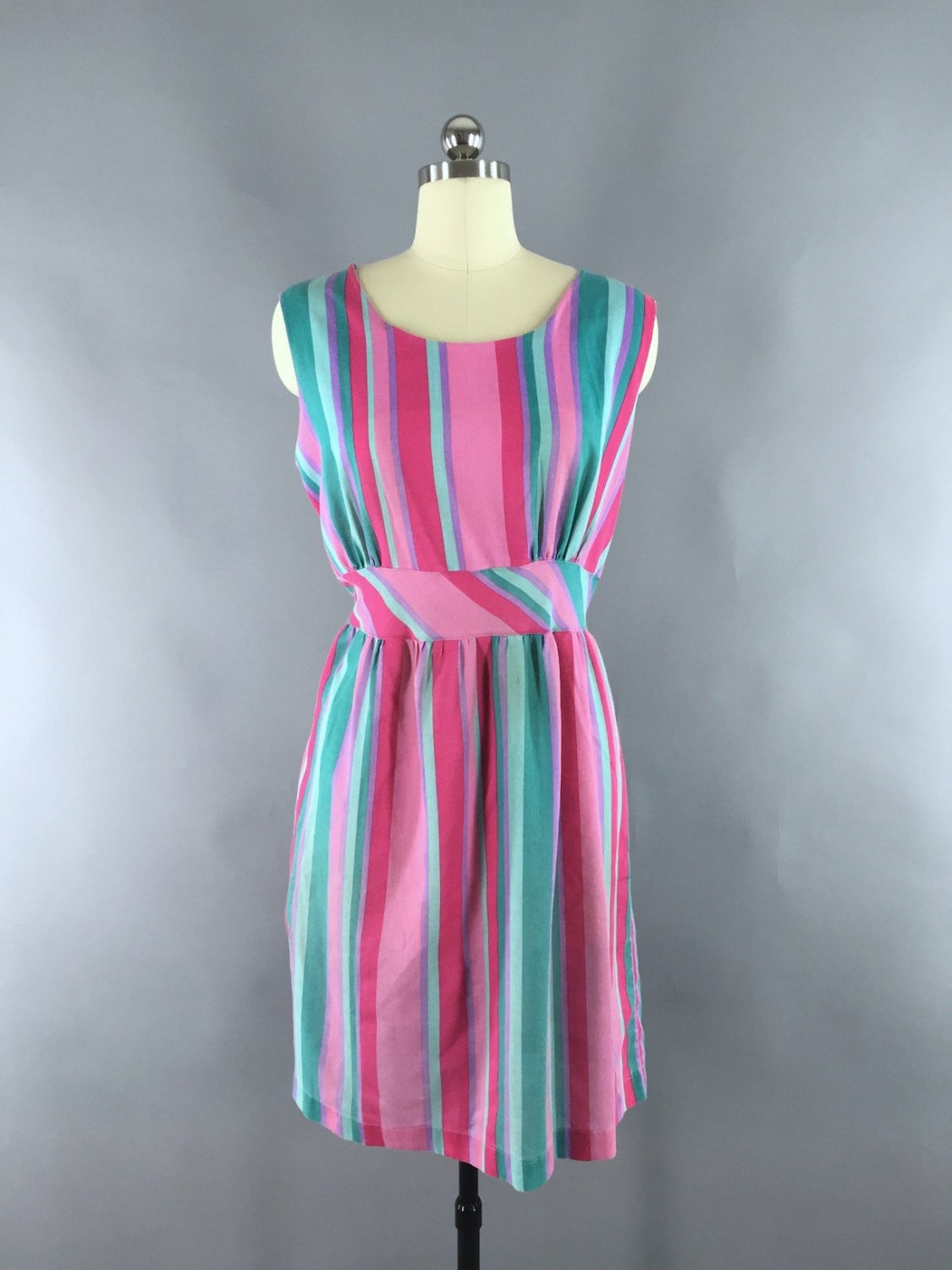 1970s Vintage Pink Striped Cotton Sundress Dress ThisBlueBIrd