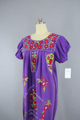 1970s Vintage Purple Mexican Oaxacan Embroidered Huipil Caftan Dress Dress ThisBlueBird