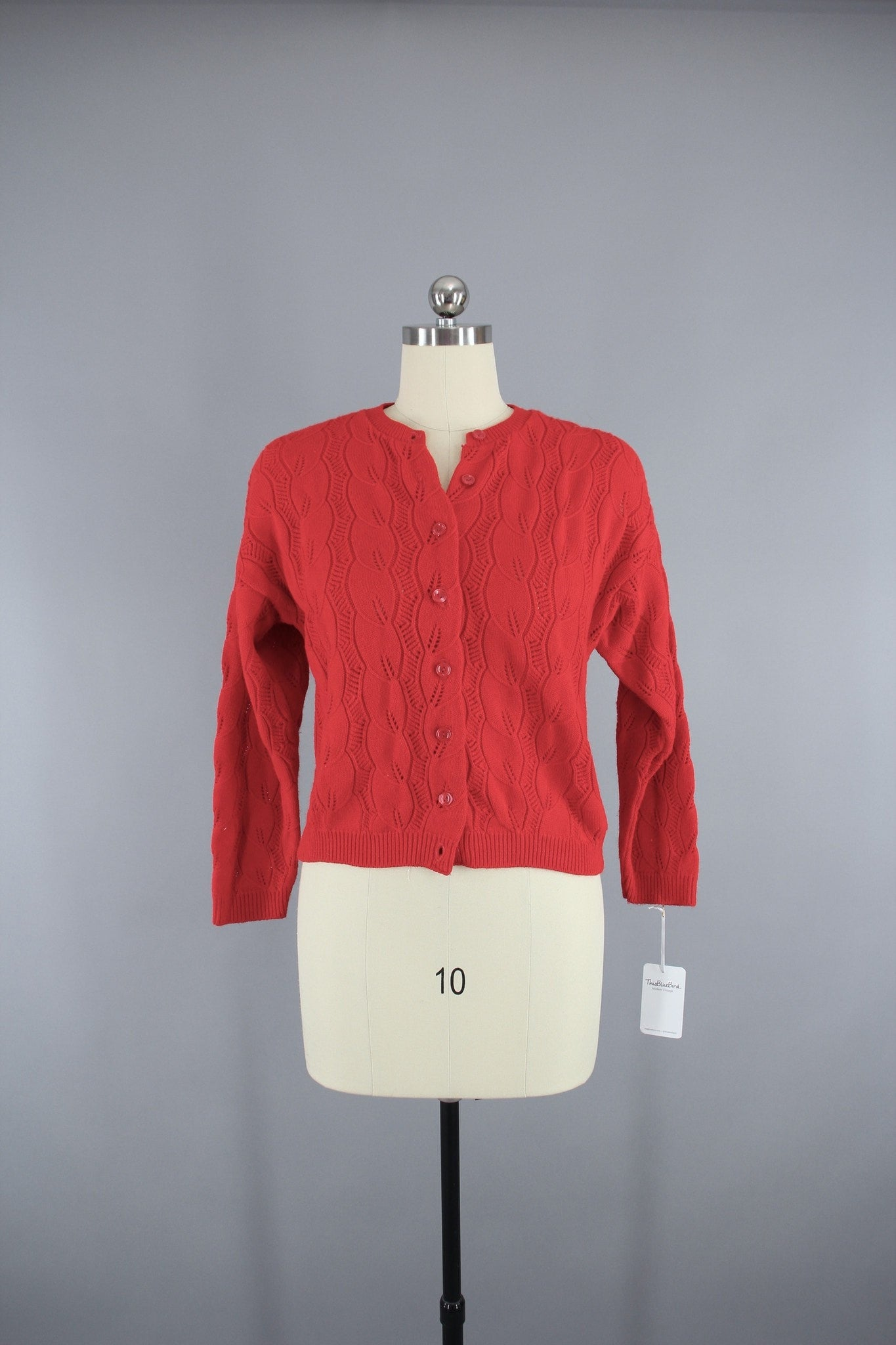 1970s Vintage Red Knitted Cardigan Sweater Tops ThisBlueBird