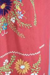 1970s Vintage Red Mexican Oaxacan Embroidered Huipil Caftan Dress Dress ThisBlueBird
