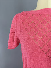 1980s Vintage Carnation Pink Knit Sweater Dress Dress ThisBlueBird