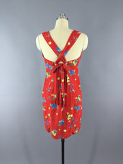 1980s Vintage Floral Print Red Sundress Dress ThisBlueBird - Sale