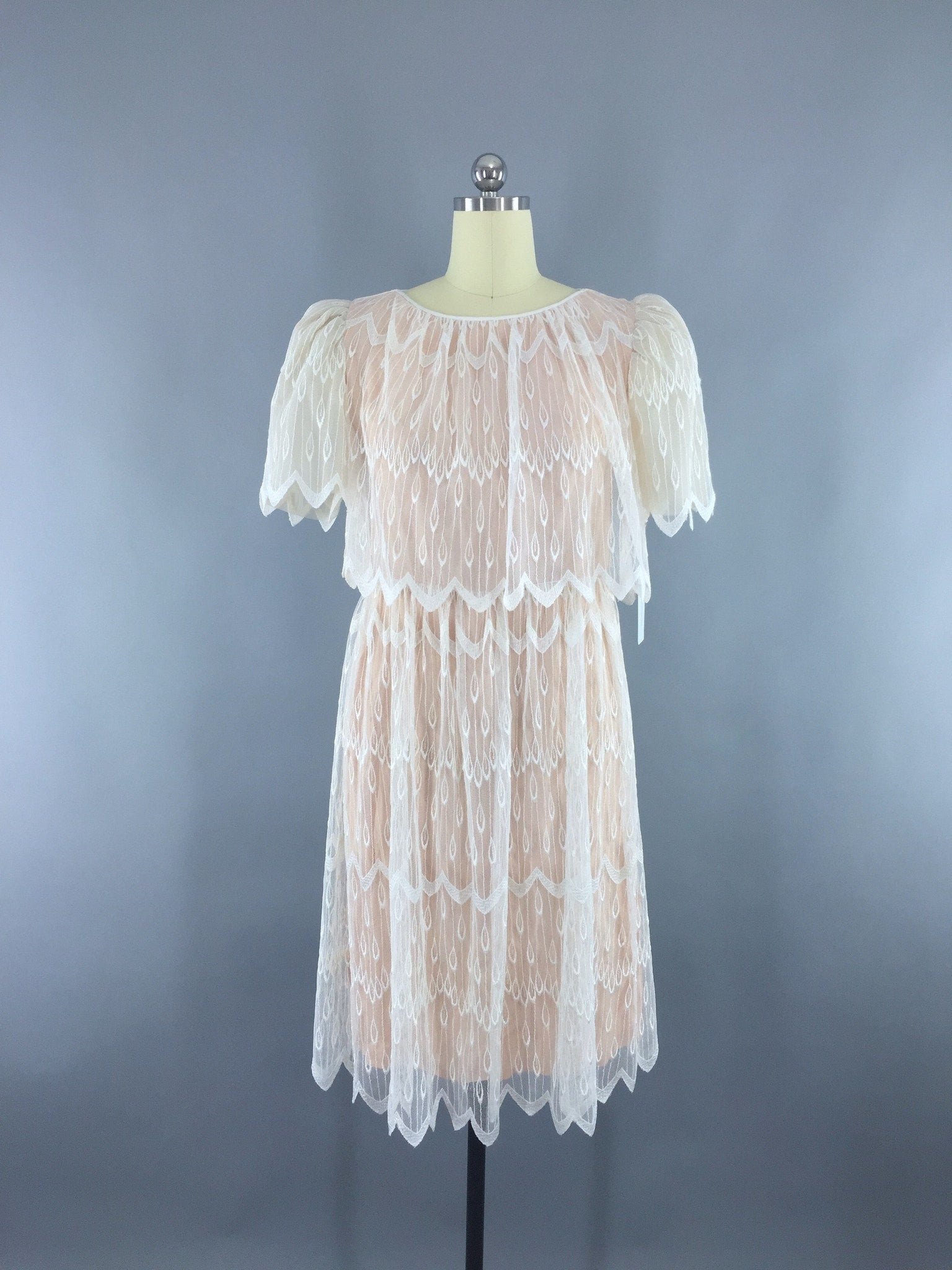 1980s Vintage Lace Cocktail Party Dress Dress ThisBlueBird