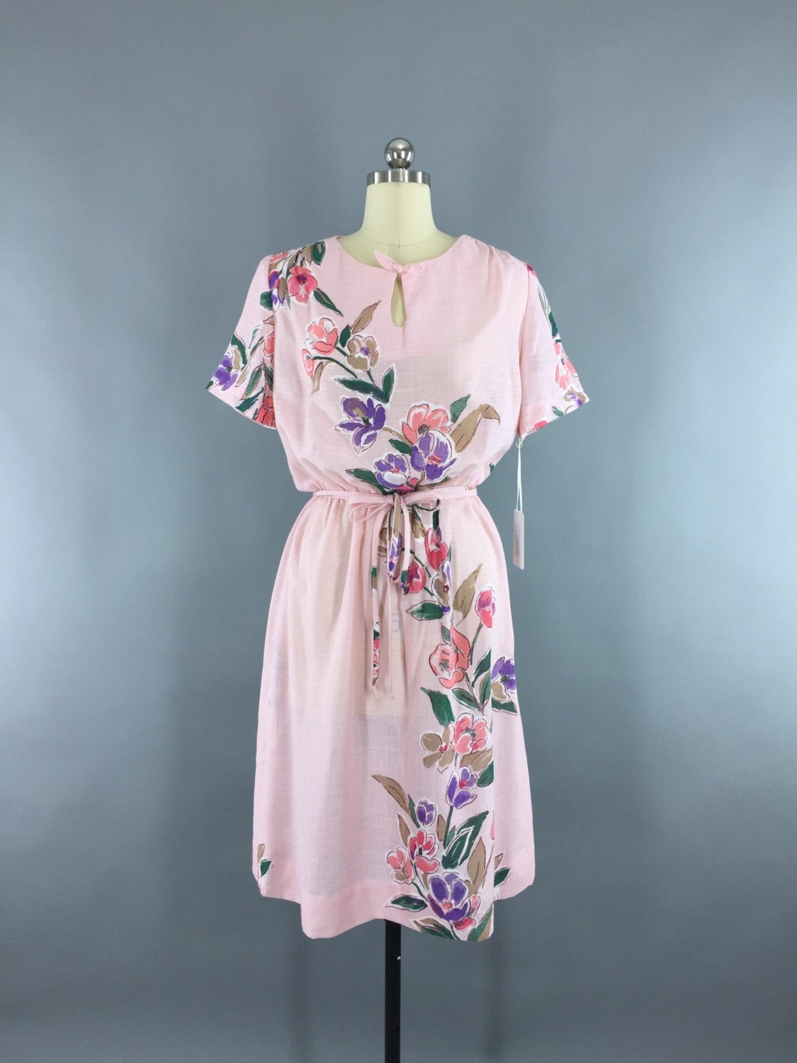 1980s Vintage Pastel Pink Floral Print Dress Dress ThisBlueBird