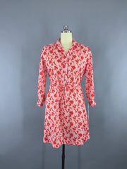 1980s Vintage Red and White Geometric Print Secretary Day Dress Dress ThisBlueBird