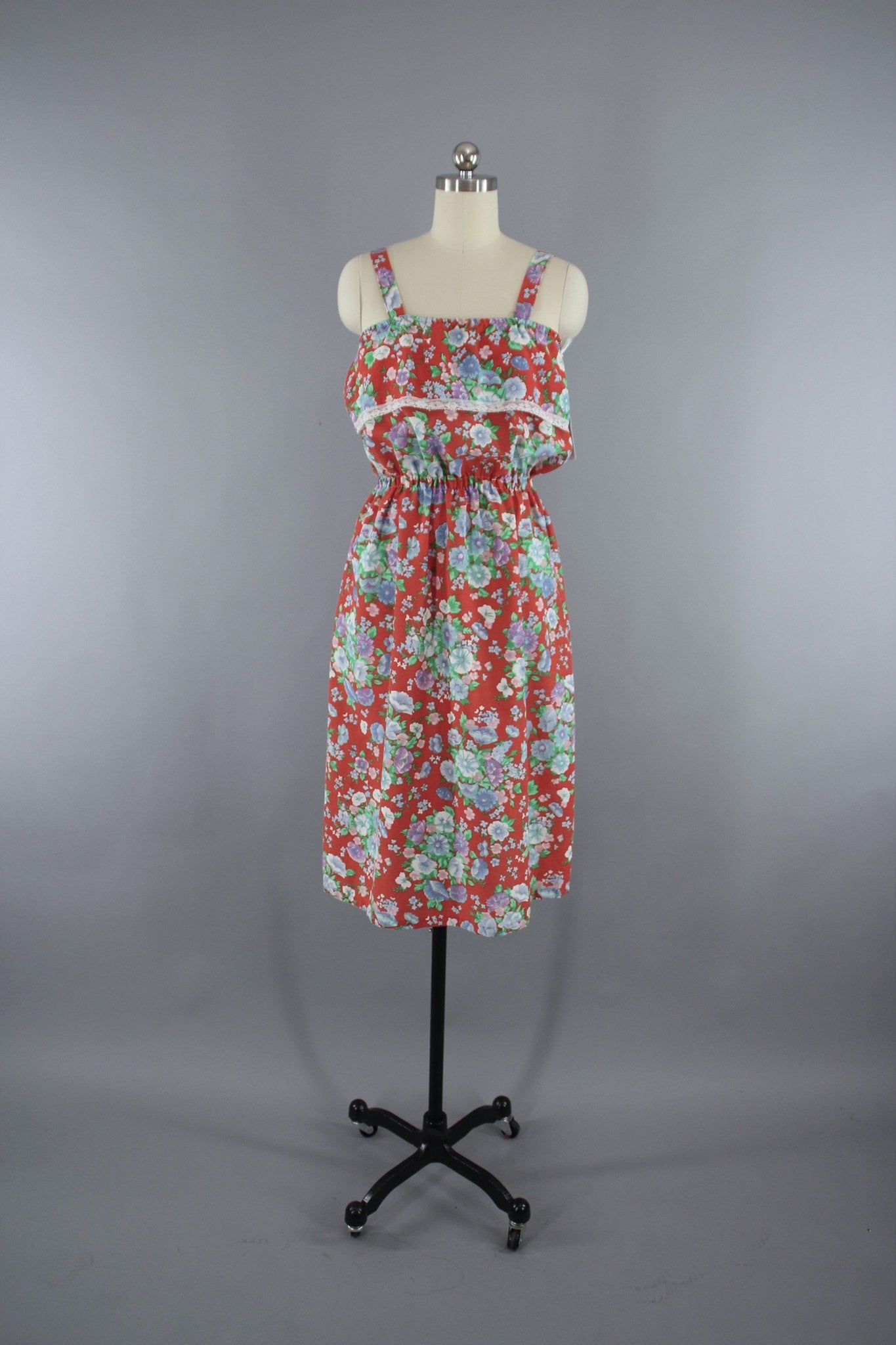 1980s Vintage Red Floral Print Sundress Dress ThisBlueBird