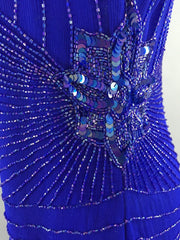 1980s Vintage Royal Blue Art Deco Beaded Trophy Cocktail Dress Dress ThisBlueBird