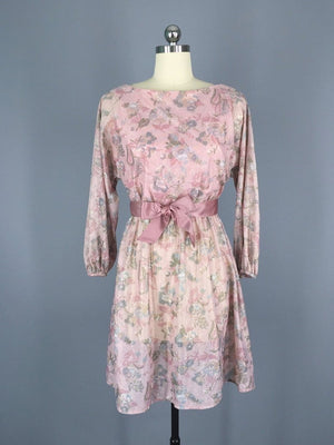 1980s Vintage Victor Costa Pink Lurex Party Dress - ThisBlueBird