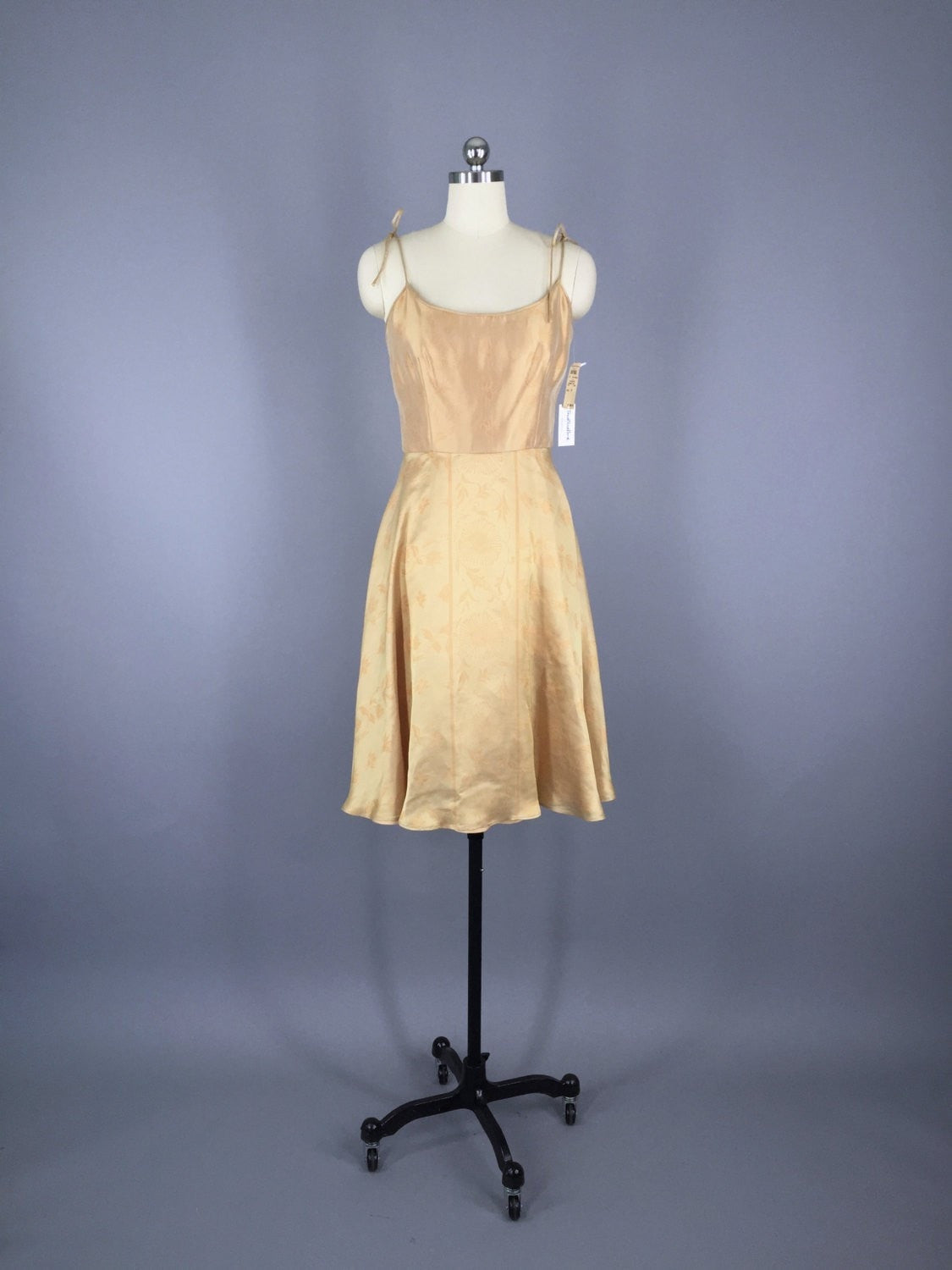 1990s Vintage Giorgio Armani Gold Cocktail Dress with Original Bergdorf Goodman Tags Dress ThisBlueBird