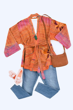 Silk Kimono Cardigan / Vintage Indian Sari / Orange & Purple Floral