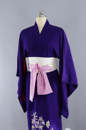 Antique Silk Kimono Robe / Royal Purple and White Doves-ThisBlueBird - Modern Vintage