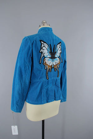 Aqua Blue Corduroy Jacket with Embroidered Butterfly Patch - ThisBlueBird