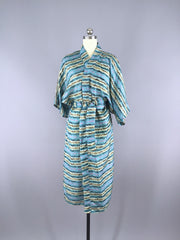 Aqua Paisley Striped Robe made from a Vintage Indian Silk Sari Sari Robe ThisBlueBird