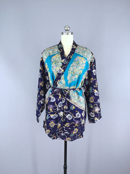 Blue Pansy Embroidered Silk Chiffon Kimono Cardigan made from a Vintage Indian Sari