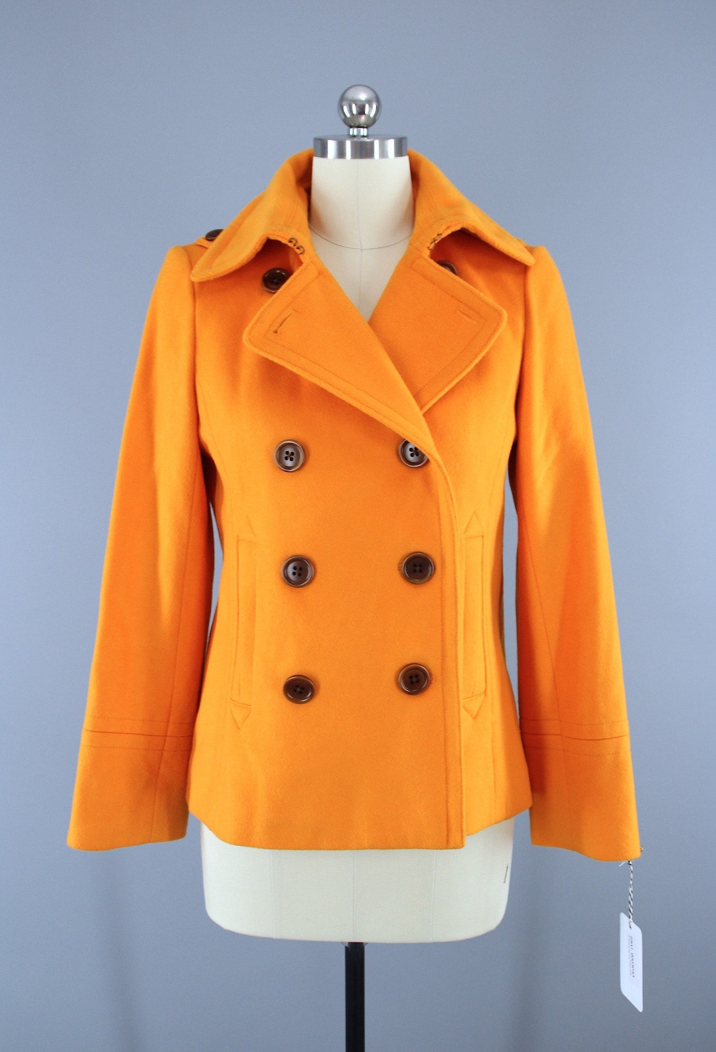 Bright Orange J. Crew Wool Pea Coat / Short Jacket / Size Medium Outerwear ThisBlueBird
