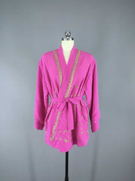 Bright Pink Georgette Kimono Cardigan made from a Vintage Indian Sari