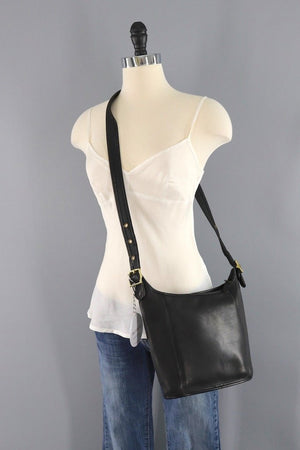 Coach Black Leather Medium Slim Duffle Bag-ThisBlueBird - Modern Vintage