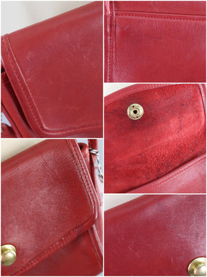 Vintage Red Leather COACH Cross Body Bag