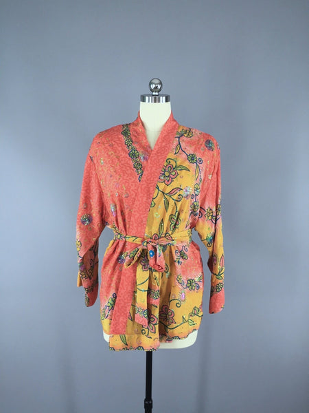 Coral Yellow Embroidered Silk Kimono Cardigan made from a Vintage Indian Sari