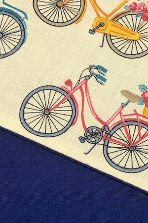 Cotton Washable Face Mask - Bicycles Navy Blue Back-ThisBlueBird - Modern Vintage