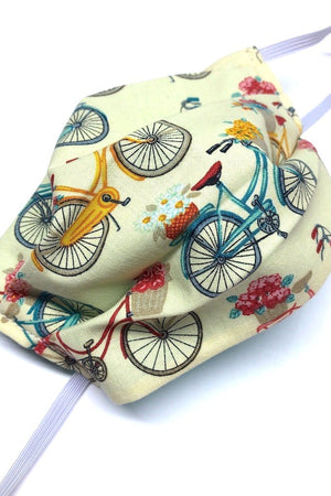 Cotton Washable Face Mask - Bicycles Pink Back-ThisBlueBird - Modern Vintage