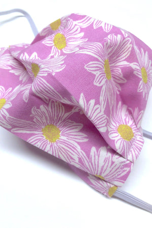 Cotton Washable Face Mask - Purple Daisy-ThisBlueBird - Modern Vintage