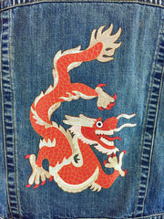 Denim Jean Jacket with Red Asian DRAGON Embroidery Appliqué Outerwear ThisBlueBird