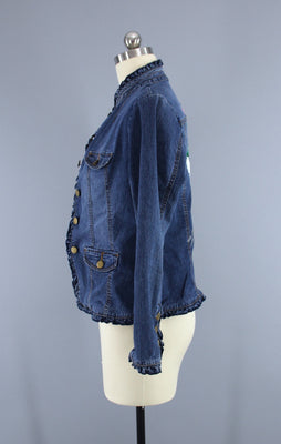 1d928c26498 Embroidered Denim Jacket   Asian Crane Bird   Peony Floral Embroidery