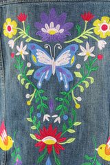 Embroidered Denim Jacket / Butterfly Birds Floral Folk Embroidery Outerwear ThisBlueBird