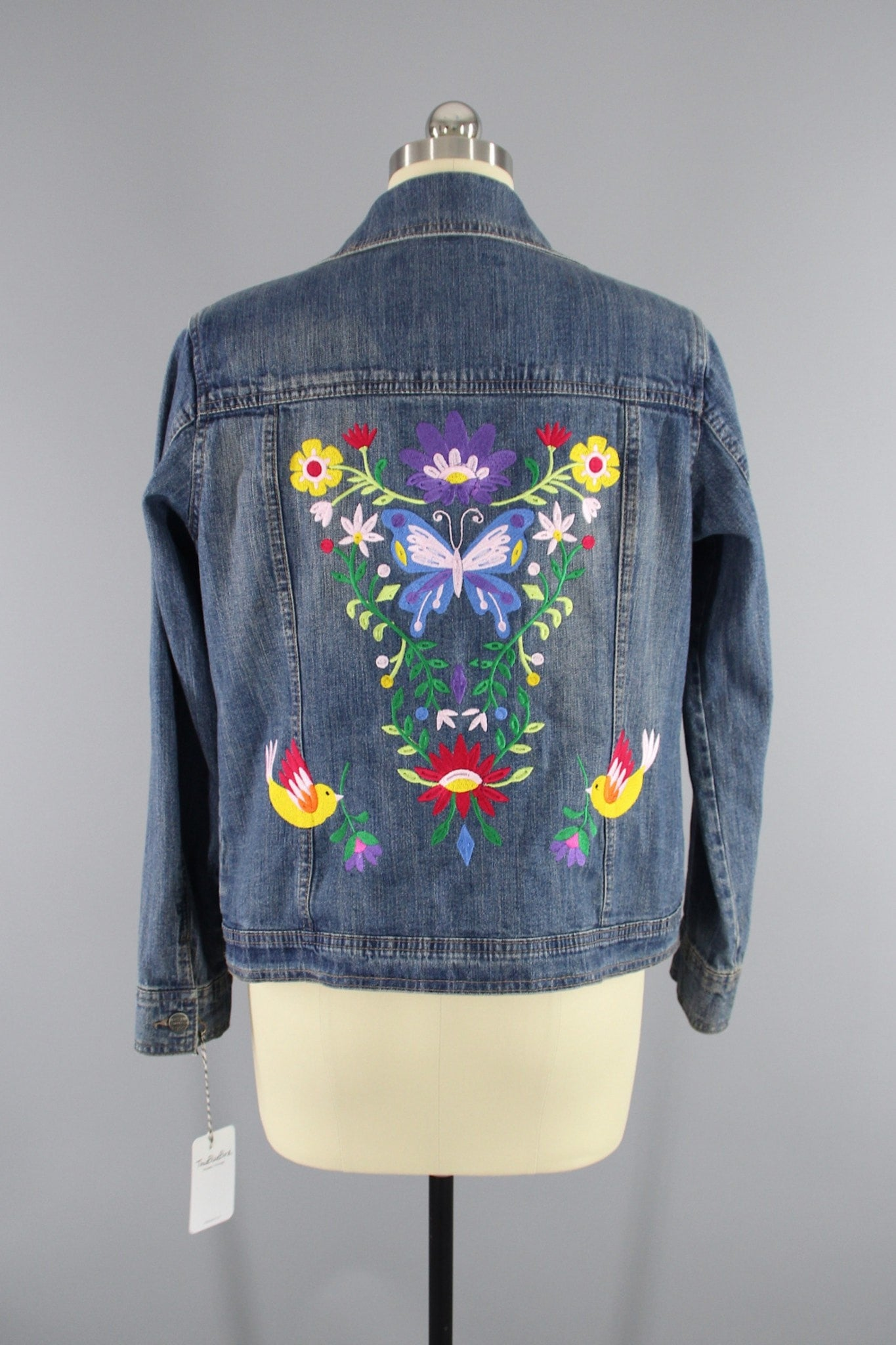 Embroidered Denim Jacket / Butterly Birds Floral Folk Embroidery Outerwear ThisBlueBird